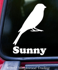 "CANARY 6"" x 4"" Vinyl Decal Sticker w/ Personalized Name - FINCH Atlantic Yellow Songbird"