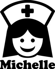 "NURSE with Personalized Name 5"" x 6.25"" - V2 - Vinyl Decal Sticker  - ER OR RN LPN"