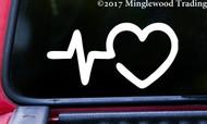 "HEARTBEAT EKG HEART 5"" x 2.5"" Vinyl Decal Sticker - Pulse Line"