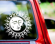 """SUN AND MOON 11.5"""" x 11.5"""" Vinyl Decal Sticker - Faces Kissing Celestial Tribal Tattoo"""