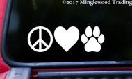 "PEACE LOVE PAWPRINT 6"" x 2"" Vinyl Decal Sticker - Dog Cat Puppy Kitten Paw"