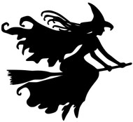 "Witch on Broomstick Vinyl Decal Sticker Witchcraft Halloween Wicca - 5"" x 4.5"""