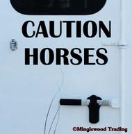 "CAUTION HORSES 20"" x 10"" BLACK Vinyl Decal Sticker - Horse Trailer Show"