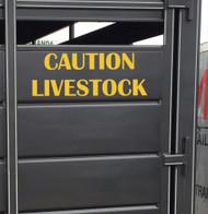 "CAUTION LIVESTOCK 20"" x 7.5"" YELLOW Vinyl Decal Sticker - Cattle Horse Trailer"