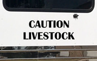 "CAUTION LIVESTOCK 20"" x 7.5"" BLACK Vinyl Decal Sticker - Cattle Horse Trailer"