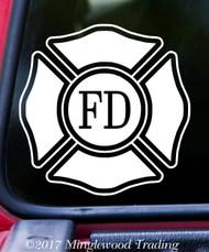 "FIRE DEPARTMENT 5"" x 5"" -V2- Vinyl Decal Sticker - Maltese Cross VFD Firefighter"