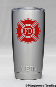 "Two (2)  FIRE DEPARTMENT 2.5"" x 2.5"" -V2- Vinyl Decal Stickers - Maltese Cross VFD Firefighter"