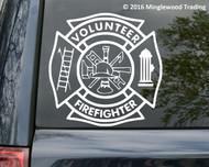 "Volunteer Firefighter vinyl decal sticker 11"" x 11"" VFD Fire Department Maltese Cross"