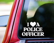 "I LOVE A POLICE OFFICER 8"" x 5"" Vinyl Decal Sticker - Cop Heart Police Dept FREE SHIPPING"