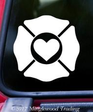"FIREFIGHTER LOVE 5"" x 5"" Vinyl Decal Sticker MALTESE CROSS HEART Fire Dept Support FREE SHIPPING"