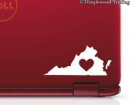 "2x VIRGINIA HEART 3"" x 1.5"" Vinyl Decal Stickers - Love RVA Richmond Va Beach Charlottesville - 20 COLOR OPTIONS"