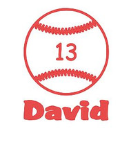 """Baseball with Name & Number - Vinyl Decal Sticker - 6.5"""" x 5"""""""