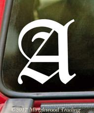 """OLD ENGLISH LETTER 5"""" Vinyl Decal Sticker - Initial Tattoo Script Lettering"""