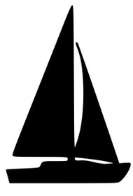 "Sailboat Vinyl Decal Sticker - Sailing Boating Sloop Dinghy Catboat 5"" x 3.5"""