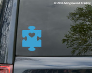 "Autism Awareness & Support - Puzzle Heart -  Vinyl Decal Sticker - 4"" x 3"""