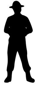 "Drill Sergeant - Male (facing forward)  Vinyl Decal Sticker - 5.5"" x 2"""