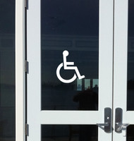 "Handicap Accessible - Wheelchair Restroom Door Sign Vinyl Decal Sticker 8"" x 7"""
