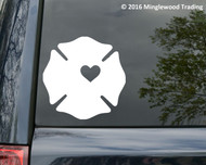 "Firefighter Maltese Cross Badge Heart Fireman Wife Vinyl Decal Sticker - 11"" x 11"""