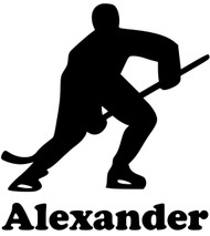 "Ice Hockey Player Vinyl Decal Sticker with Custom Personalized Name - 5"" x 5.5"""