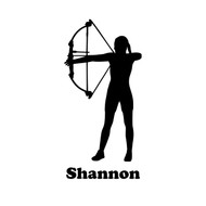 "Archer Female Vinyl Decal Sticker with Custom Personalized Name - 6.5"" x 3"""