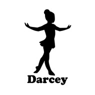 "Ballet Girl Ballerina Vinyl Decal Sticker with Custom Personalized Name - 6"" x 3.5"" (girl1)"