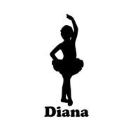 "Ballet Girl Ballerina Vinyl Decal Sticker with Custom Personalized Name - 6"" x 2"" (girl2)"