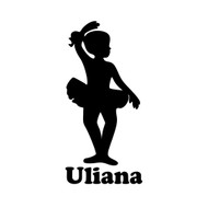 "Ballet Girl Ballerina Vinyl Decal Sticker with Custom Personalized Name - 6"" x 2.5"" (girl3)"
