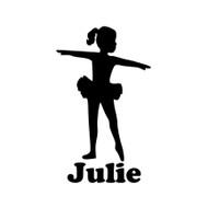 "Ballet Girl Ballerina Vinyl Decal Sticker with Custom Personalized Name - 6"" x 3.5"" (girl4)"