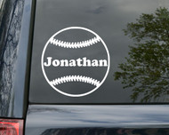 "Baseball Vinyl Decal Sticker with Custom Personalized Name 5"" x 5"""