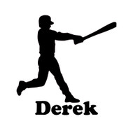 "Baseball Player Batter Vinyl Decal Sticker with Custom Personalized Name - 7"" x 5"" Little League"