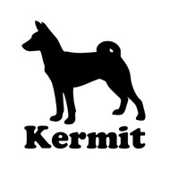 "Basenji Spitz Dog Vinyl Decal Sticker with Custom Personalized Name 5"" x 5"""