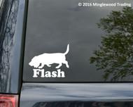 "BASSET HOUND Vinyl Decal Sticker with Custom Name 5"" x 4"" Hush Puppy Dog PERSONALIZED"