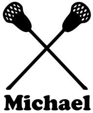 "Lacrosse Sticks Vinyl Decal Sticker with Custom Personalized Name - 4"" x 5"""