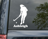 "Field Hockey Girl Vinyl Decal Sticker with Custom Personalized Name 6"" x 3.5"""