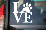 "Love Pawprint vinyl decal sticker 5"" x 5"" Dog Pet Puppy Paw Print"