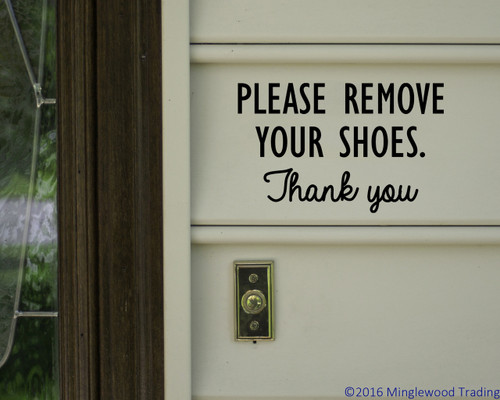 Please Remove Your Shoes Thank You Vinyl Decal Sticker Door Sign - Custom vinyl sign stickers   removal options