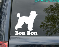 custom white vinyl decal of a Standard Poodle silhouette with the custom name below.