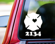 Custom white Maltese Cross with heart vinyl decal with personalized text.