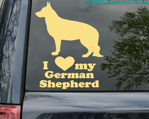 Custom ivory vinyl decal of a german shepherd dog silhouette with I LOVE my German Shepherd beneath made by Minglewood Trading.