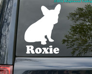 White silhouette of a French Bulldog custom vinyl decal with the name Pierre below. By Minglewood Trading. Applied to the rear window of a minivan.