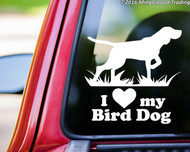 "White silhouette of a German Shorthaired Pointer with ""I love (heart) my Bird Dog"" custom vinyl decal applied to the rear of a truck. By Minglewood Trading."