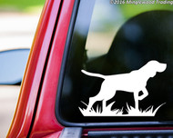White silhouette of a Bird Dog / German Shorthaired Pointer custom vinyl decal applied to the rear of a truck. By Minglewood Trading.