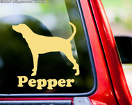 custom ivory/cream vinyl decal of a Coonhound silhouette with the custom name Pepper below. By Minglewood Trading.