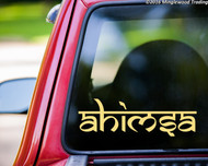 Custom ivory/cream vinyl decal of the word Ahisma in the font Samarkan by Minglewood Trading. Applied to the rear window of an truck.
