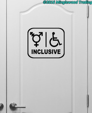 "Inclusive Restroom vinyl decal sticker 11"" x 9"" Bathroom Handicap All Gender"