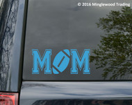 Sky / baby Blue white vinyl decal of Football Mom (two 'M's with a football between) by Minglewood Trading. Applied to the rear window of an minivan.
