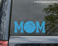 Custom light blue vinyl decal of Basketball Mom (two 'M's with a basketball between) by Minglewood Trading. Applied to the rear window of an minivan.