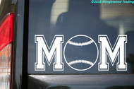 Custom white vinyl decal of Baseball Mom (two 'M's with a baseball between) by Minglewood Trading. Applied to the rear window of an minivan.