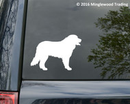 White custom vinyl decal of a Bernese Mountain Dog. By Minglewood Trading. Applied to the rear window of an minivan.