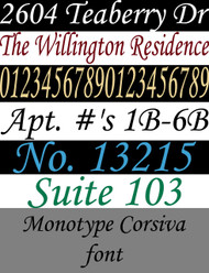 Examples of custom lettering and numbering in the Monotype Corsiva font. Custom vinyl decals available from Minglewood Trading.